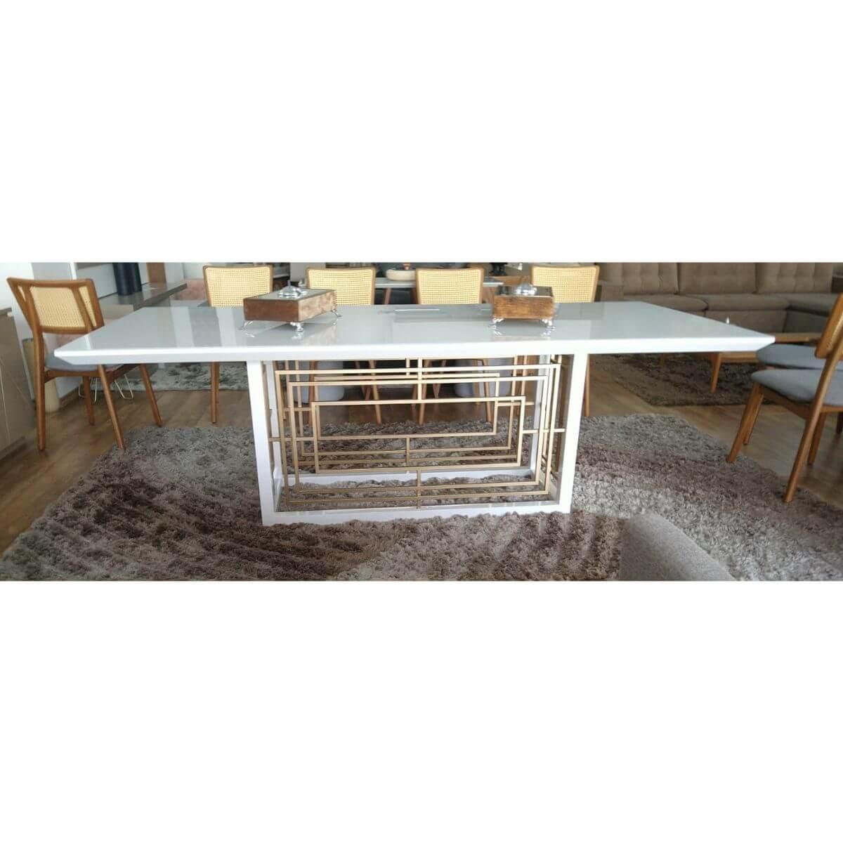 Mesa de Jantar 8 Lugares Retangular Olimpo 240cm  - Formato Móveis e Decorações