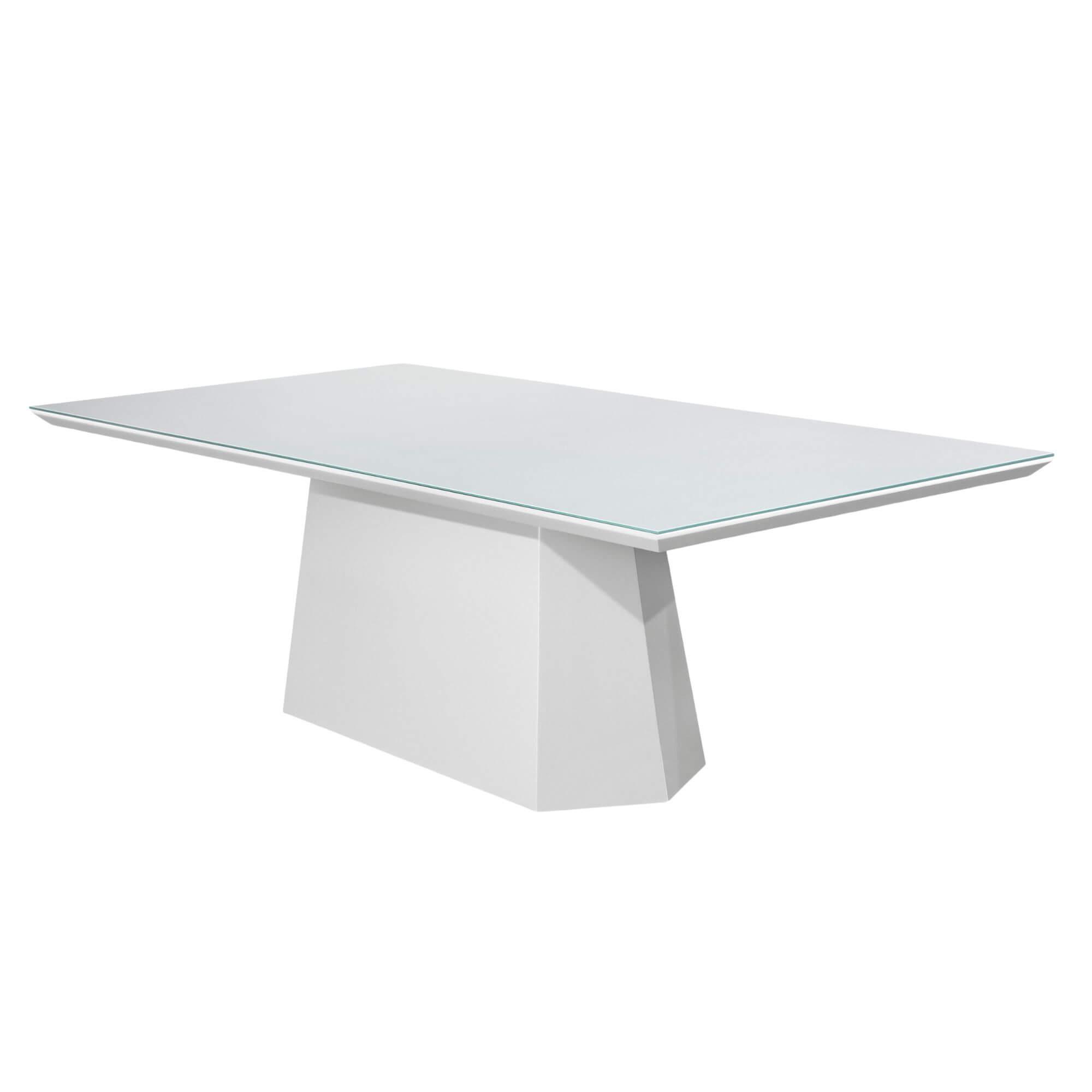 Mesa de Jantar Rainha Laca Branca e Vidro