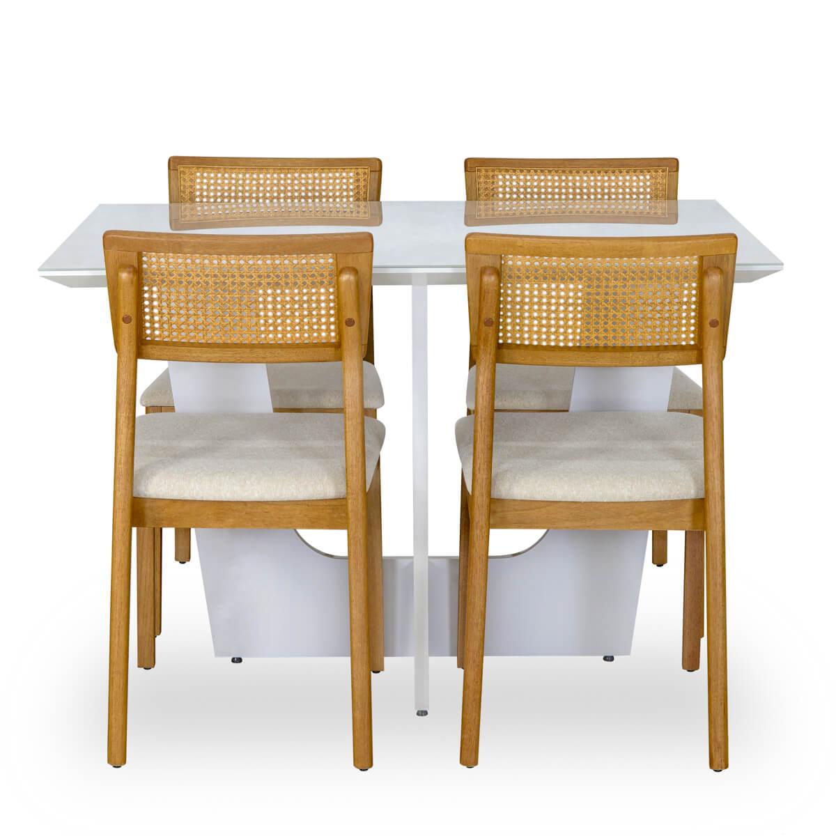 Mesa de Jantar Retangular Espanha Com 4 Cadeiras Ryva