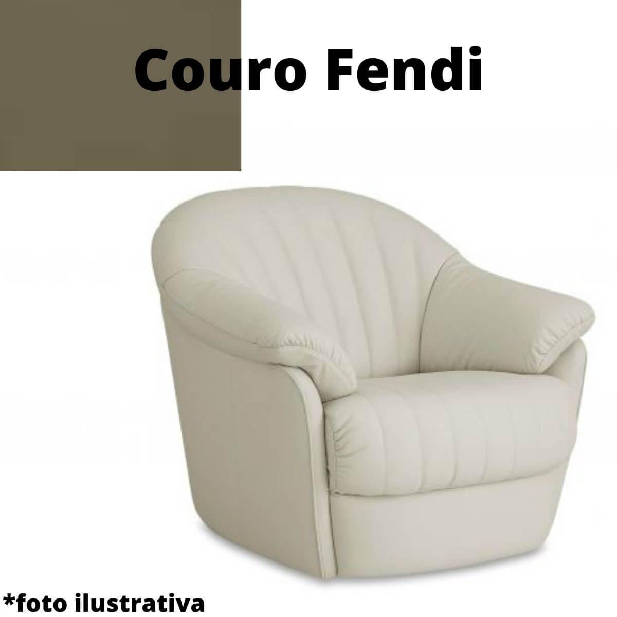 Poltrona Giratória de Couro Fendi - Luma