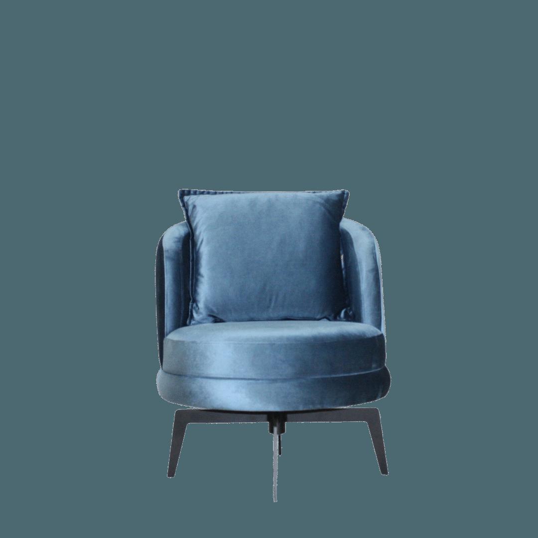 Poltrona Giratória Wonderful Veludo Azul