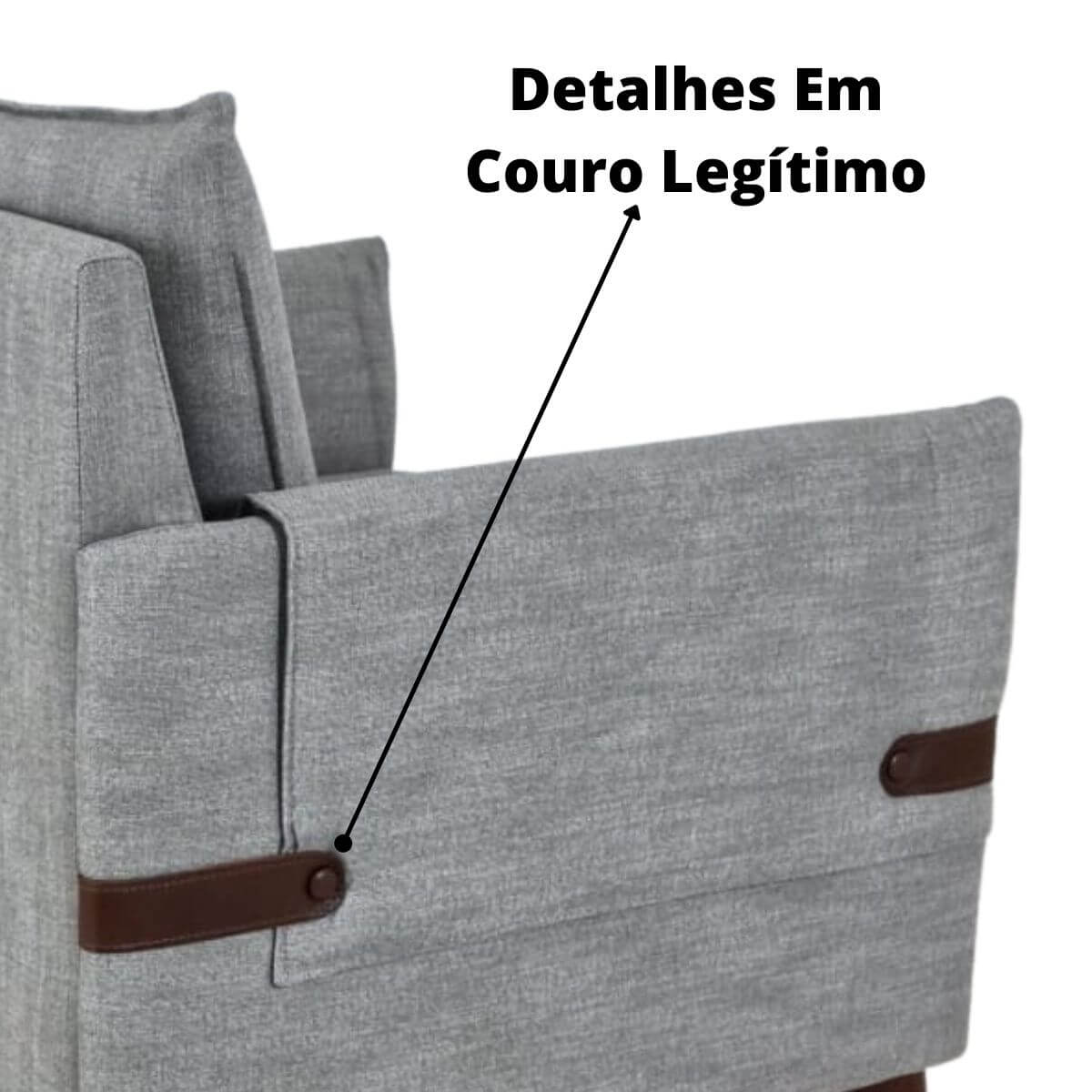 Poltrona Lille Linho Cinza  - Formato Móveis e Decorações