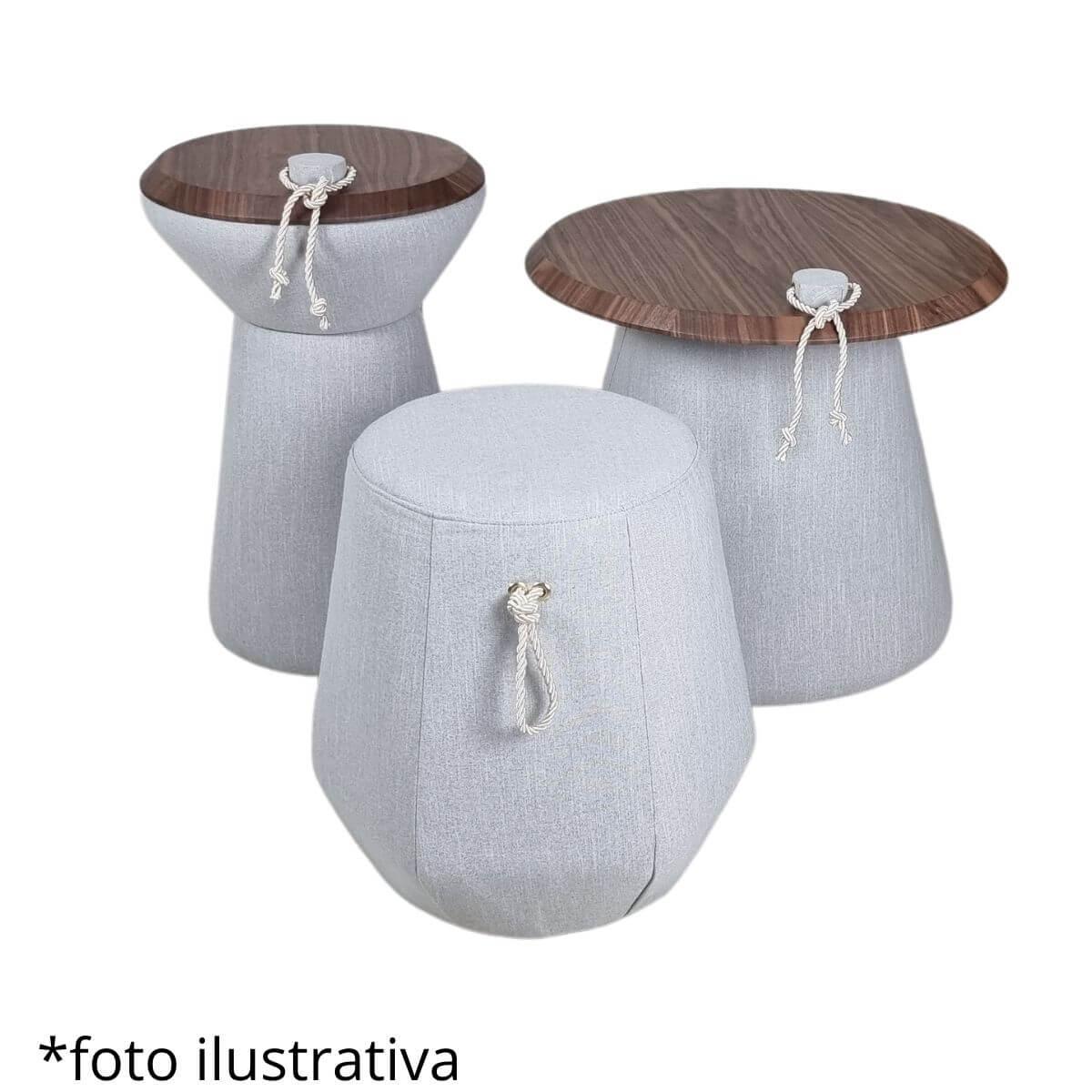 Puff Candy Alto Linho Cinza  - Formato Móveis e Decorações