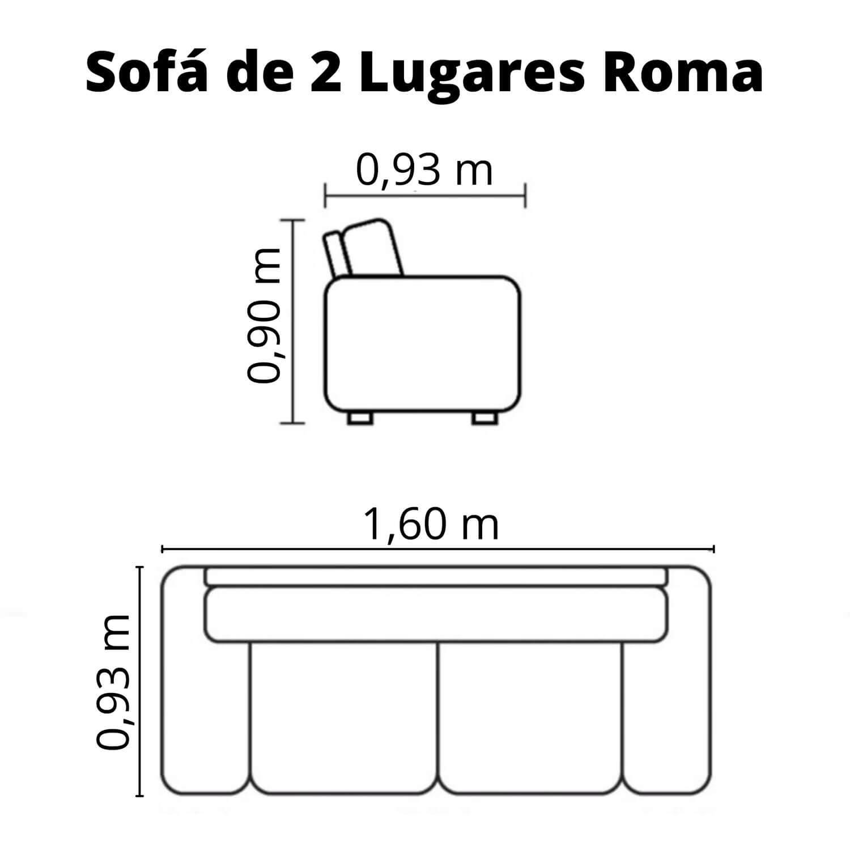 Sofá 2 Lugares de Couro - Roma Chocolate Costura Bege