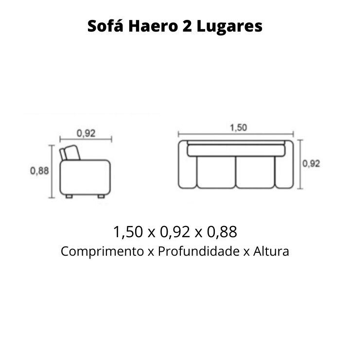 Sofá 2 Lugares de Couro 150cm - Haero Caramelo
