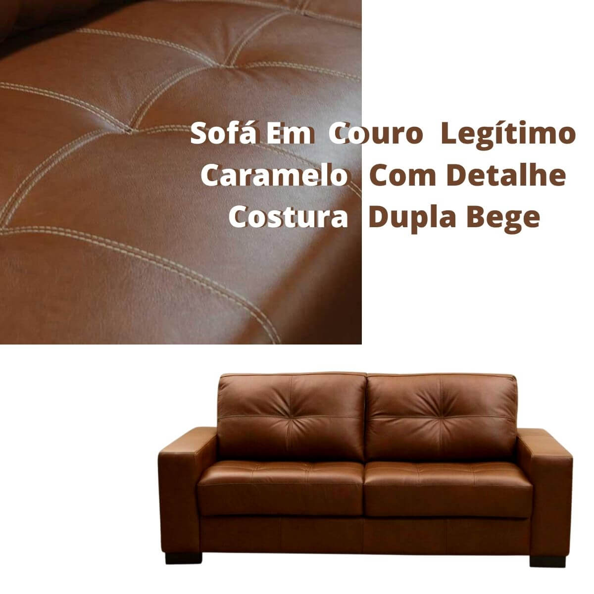 Sofá 2 Lugares de Couro 150cm - Haero Caramelo Com Costura Bege