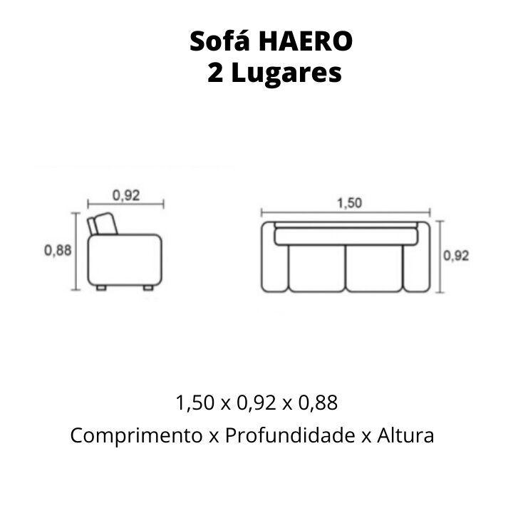 Sofá 2 Lugares de Couro 150cm - Haero Preto