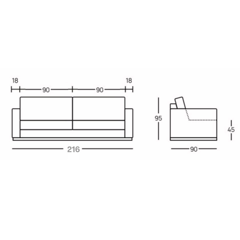 Sofá 3 Lugares 216 cm Verona - Suede Bege  - Formato Móveis e Decorações