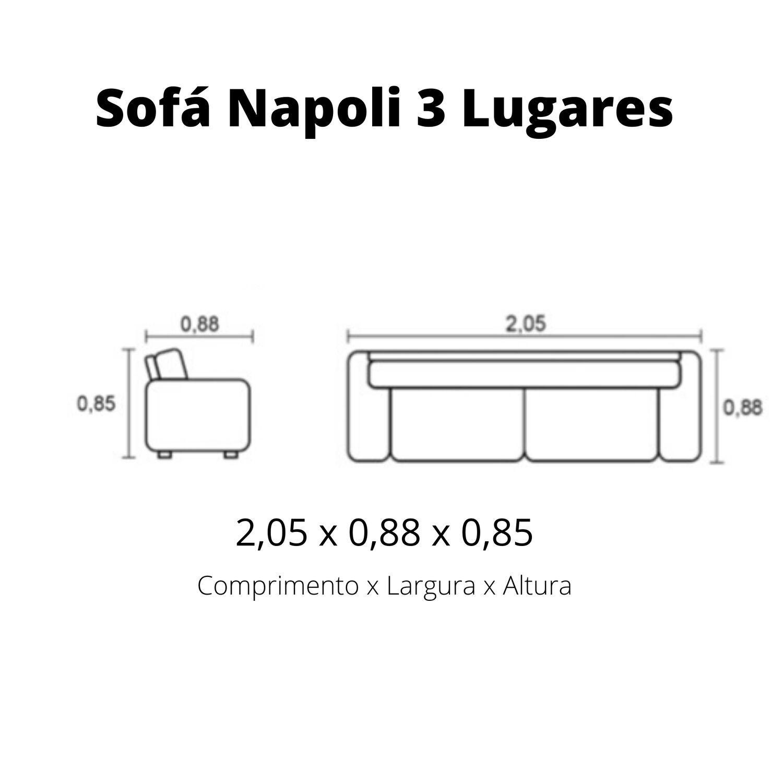 Sofá 3 lugares de Couro 205 cm - Napoli Chocolate