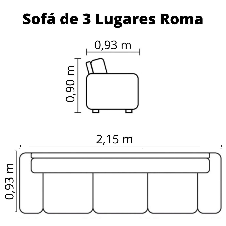 Sofá 3 Lugares Couro - Roma Chocolate Costura Bege
