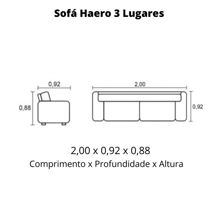 Sofá 3 Lugares de Couro 200cm - Haero Pronta Entrega