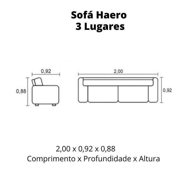 Sofá 3 Lugares de Couro 200cm - Haero Preto