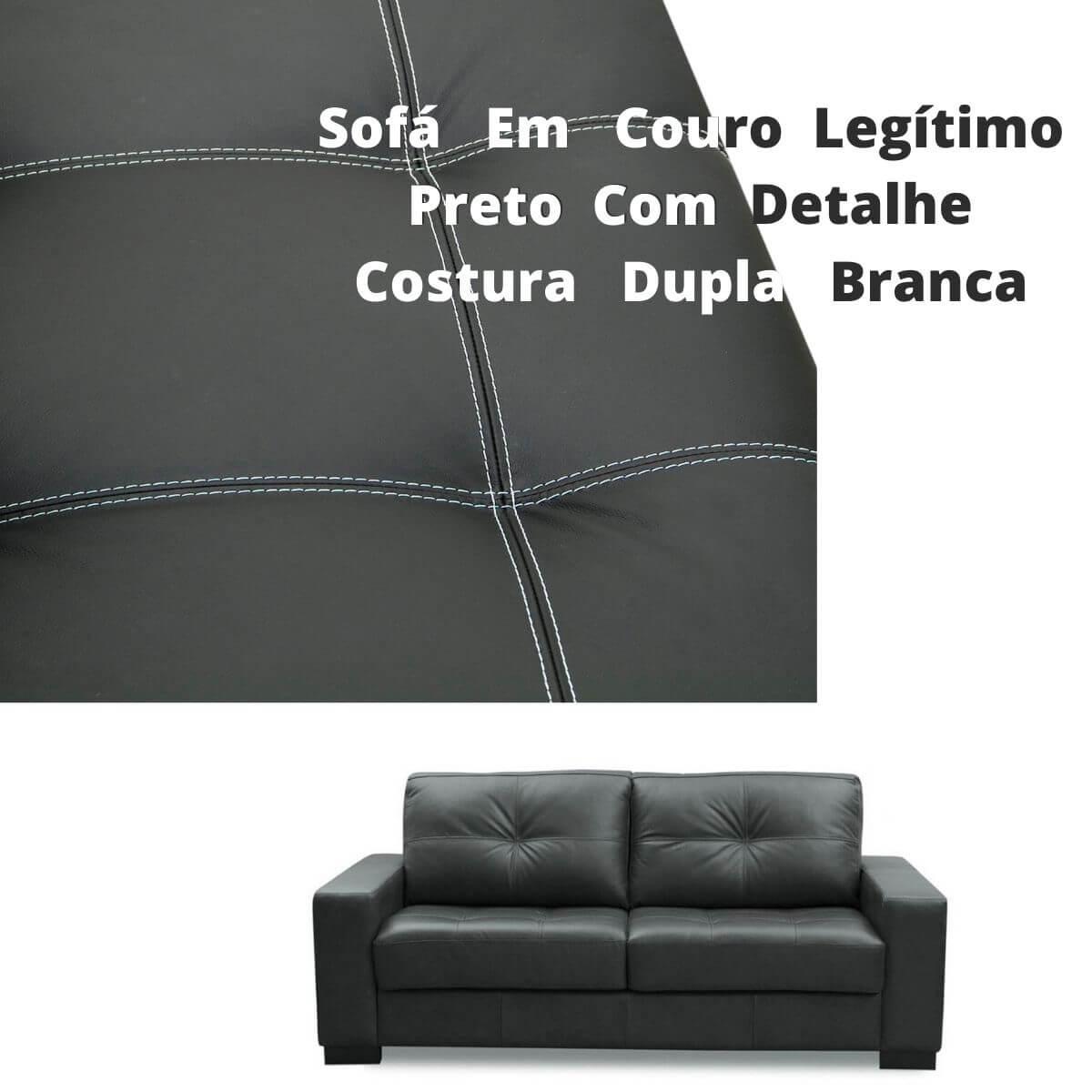 Sofá 3 Lugares de Couro 200cm - Haero Preto Com Costura Branca