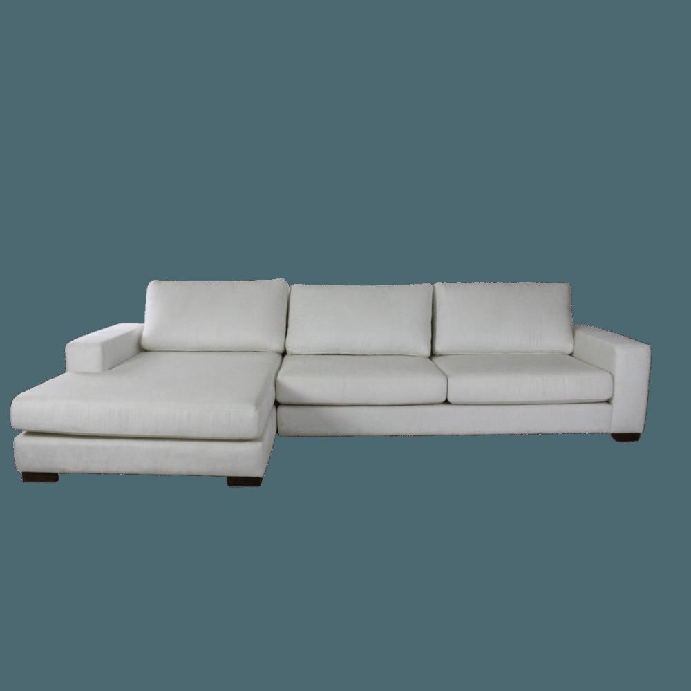 Sofá 3 Lugares Itália Com Chaise 315 cm Veludo Branco
