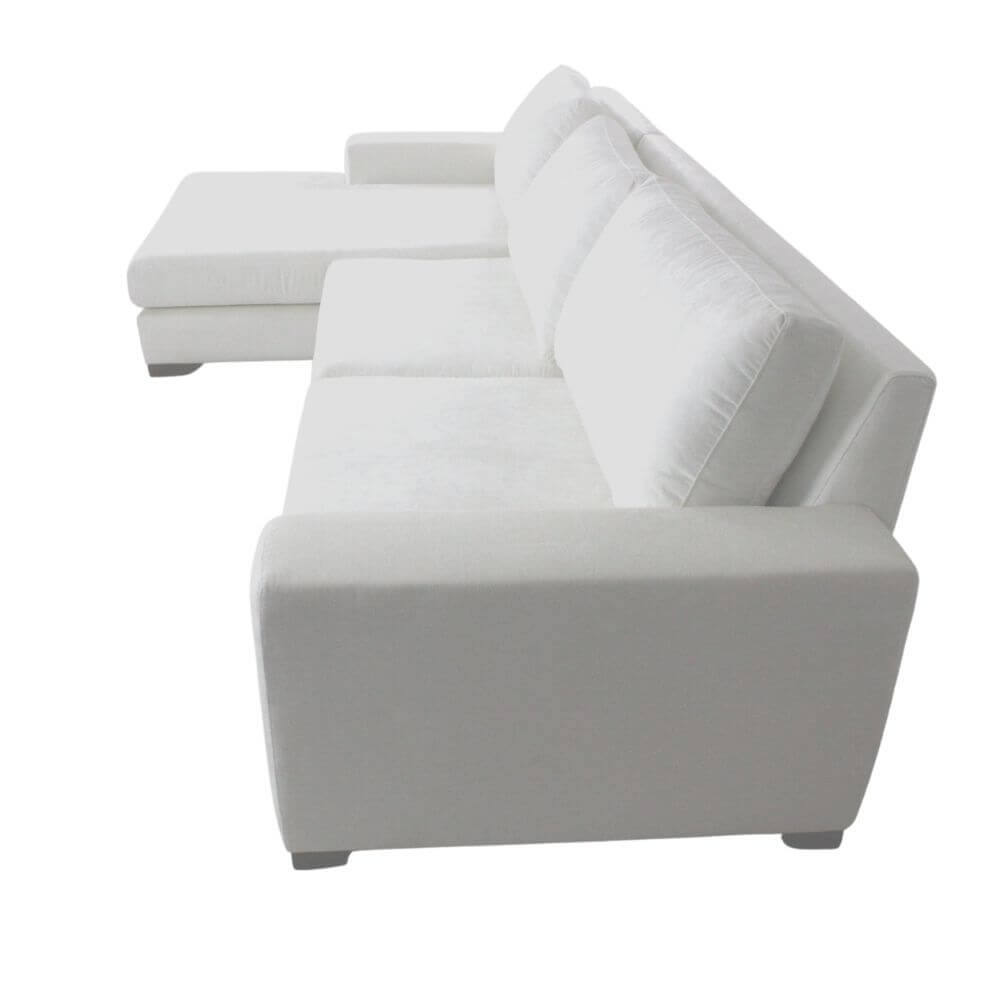 Sofá Chaise 3 Lugares Itália  310 cm Suede Branco