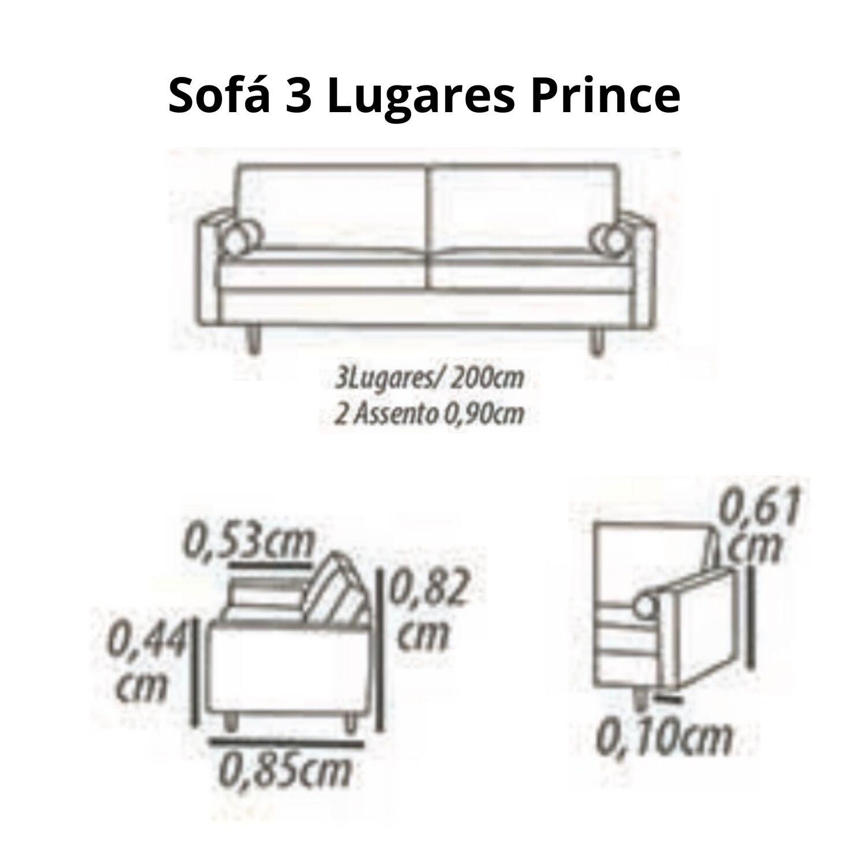 Sofá 3 Lugares 200 cm Cinza - Prince