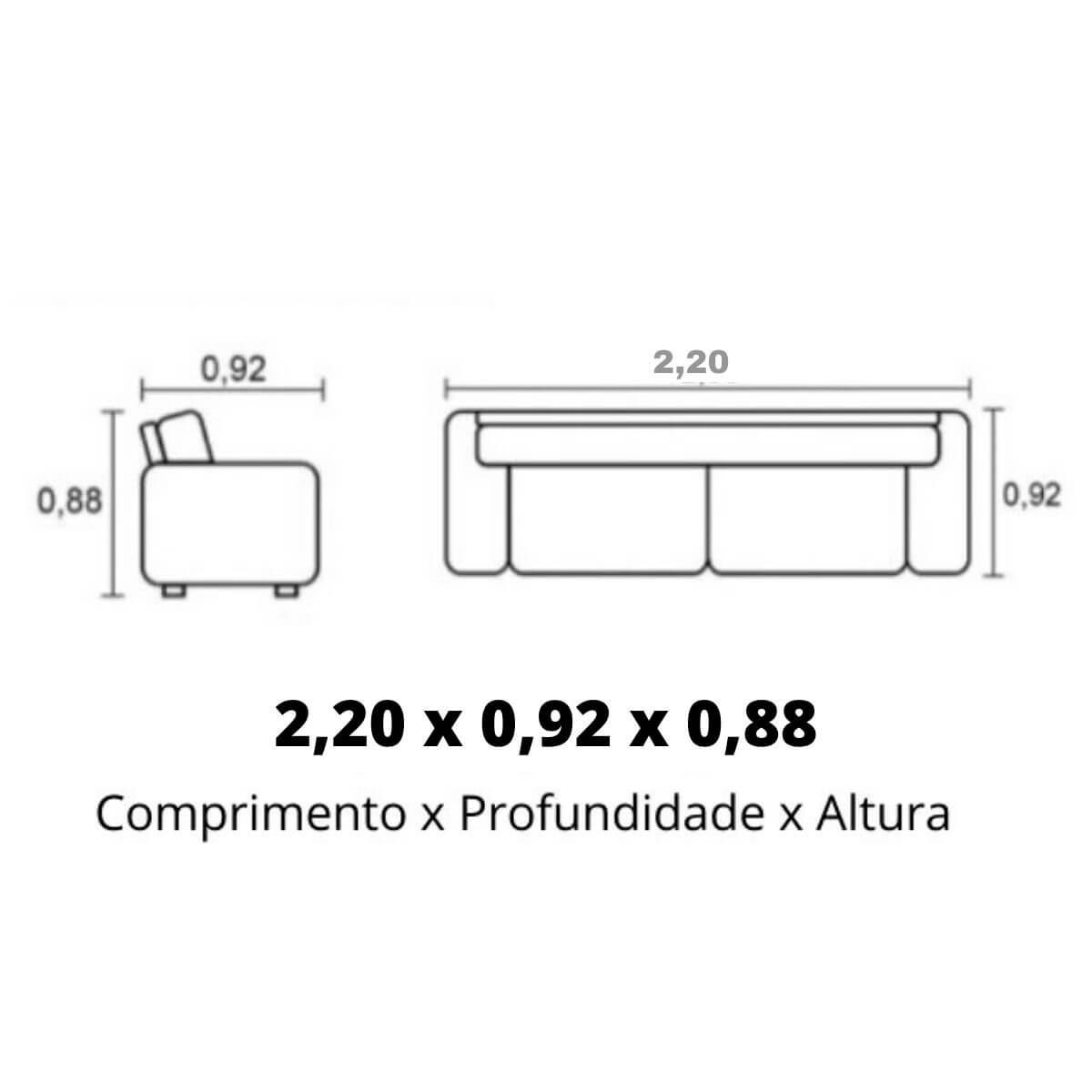 Sofá 4 Lugares de Couro 220cm - Haero Pronta Entrega  - Formato Móveis e Decorações