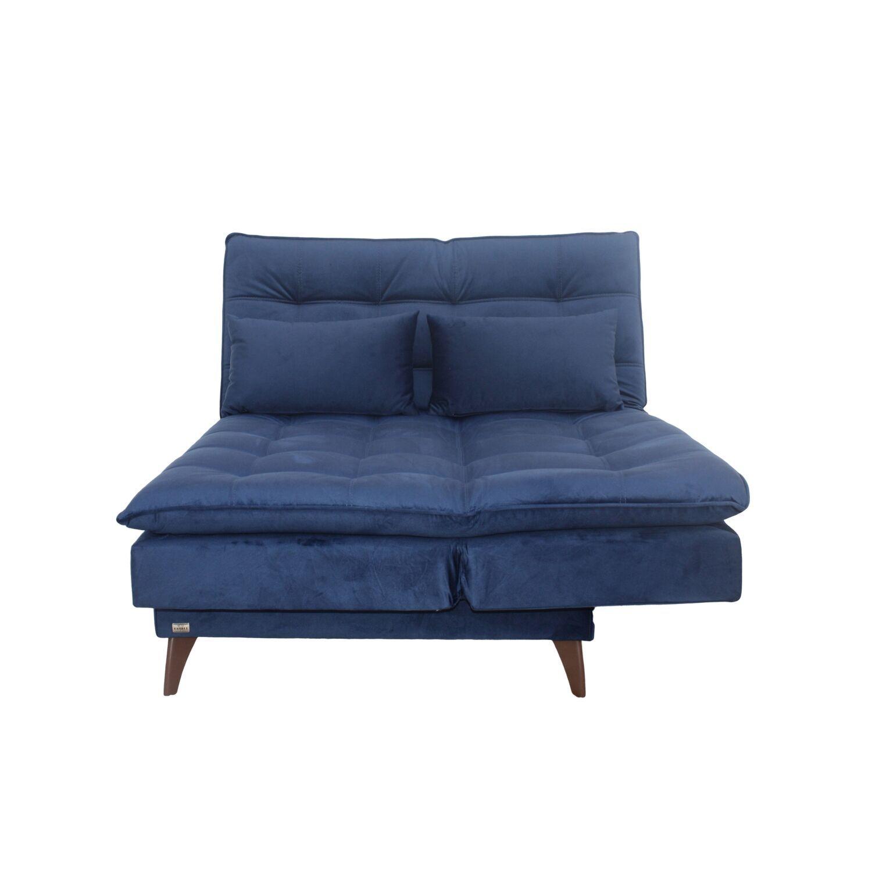 Sofá Cama Casal 3 Lugares com Chaise 190 cm Premium Azul