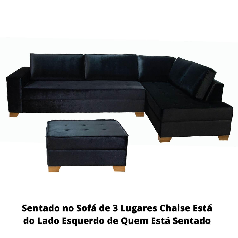 Sofá Chaise 3 Lugares 290cm com Puff Tracker Veludo Preto LE