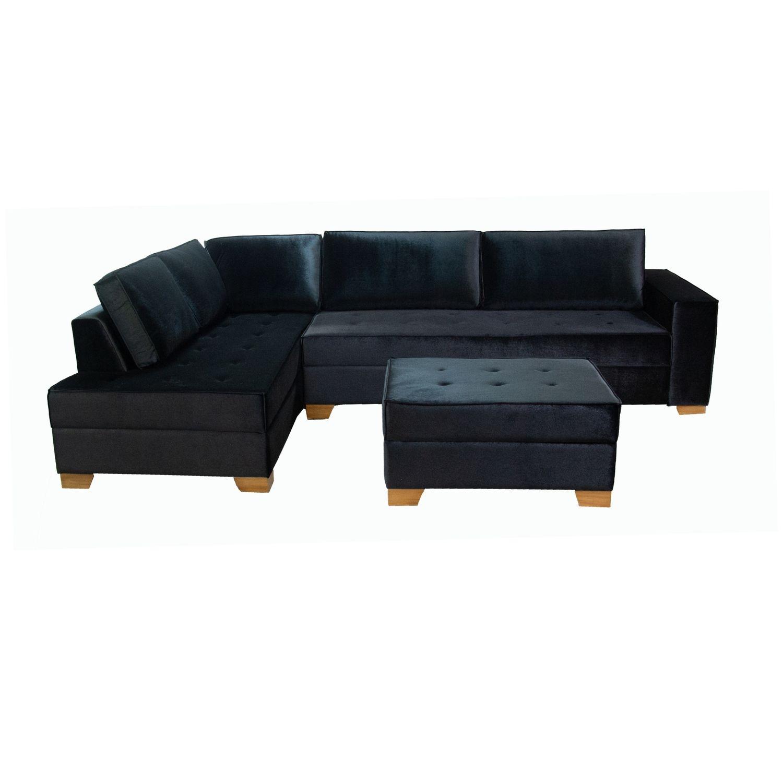 Sofá Chaise 3 Lugares 290cm com Puff Tracker Veludo Preto LD