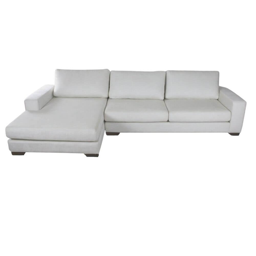 Sofá Chaise 3 Lugares Itália  310 cm Chenille Aveludado Branco