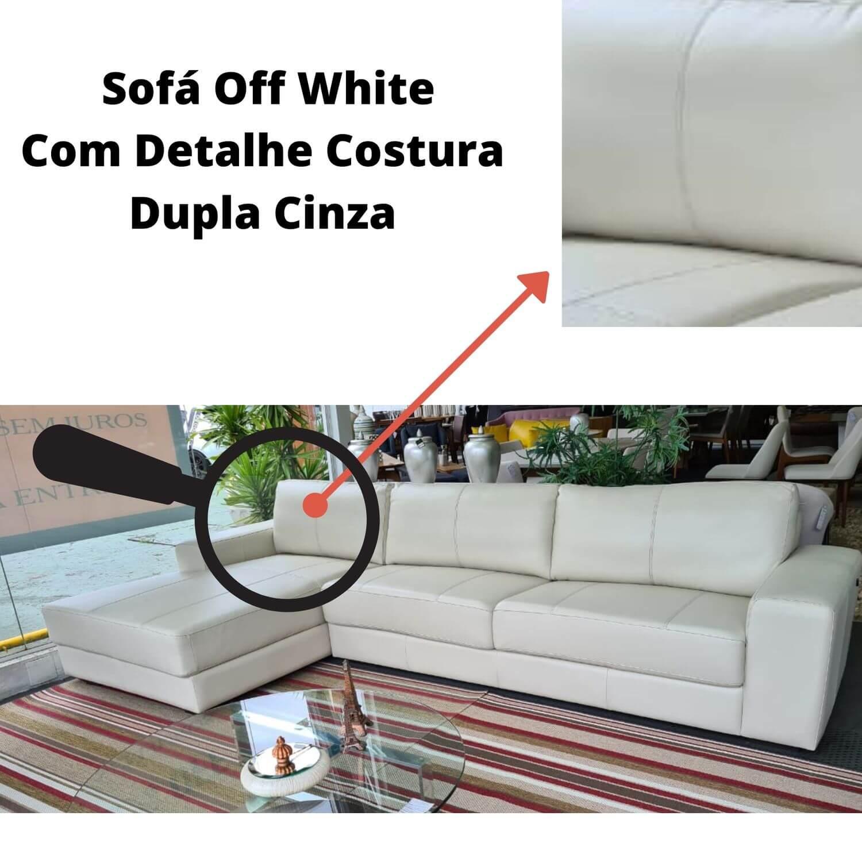 Sofá Chaise de Couro 3 Lugares 320cm Canadá LD Pronta Entrega  - Formato Móveis e Decorações