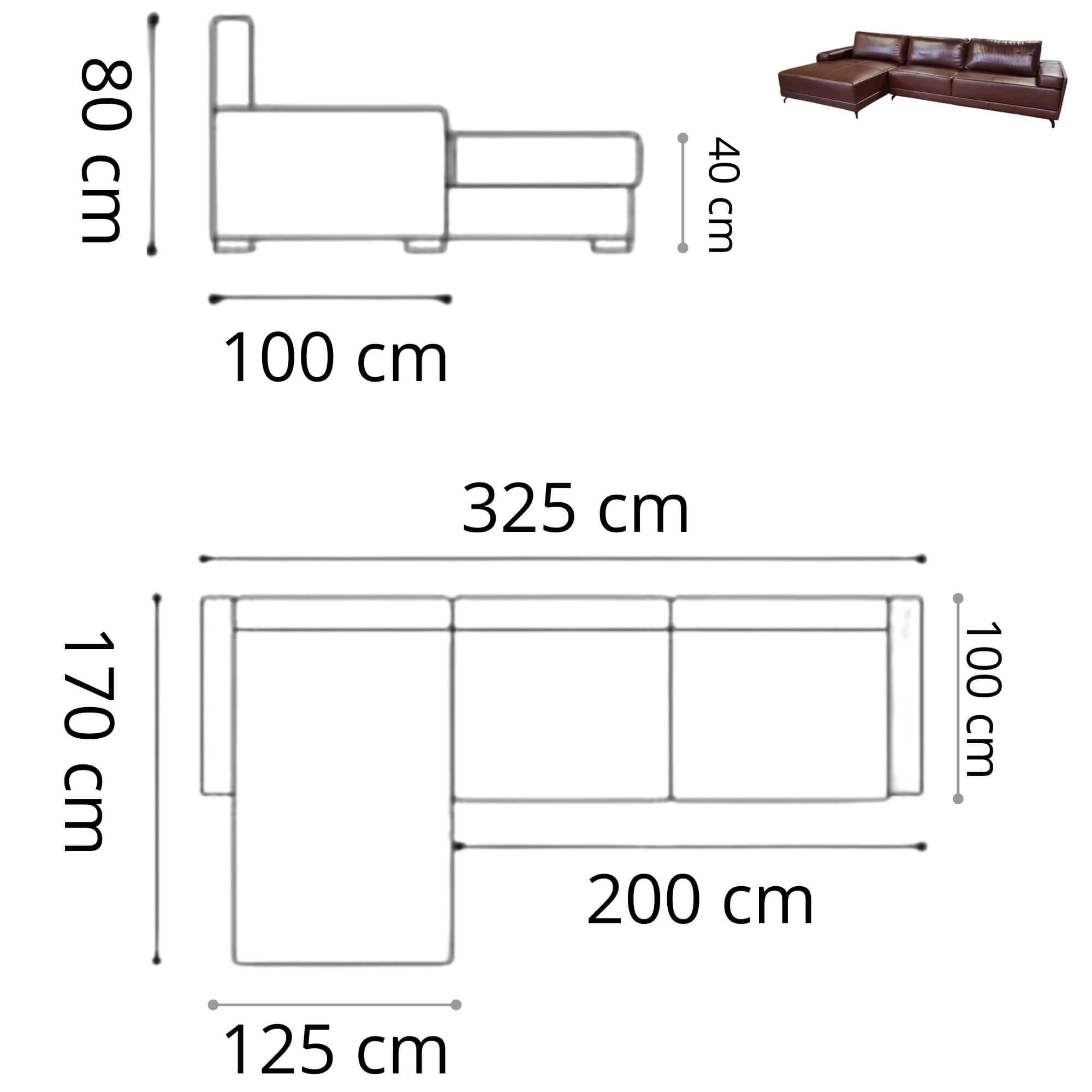 Sofá Chaise de Couro 3 Lugares 325cm Rotterdam - Caramelo LD
