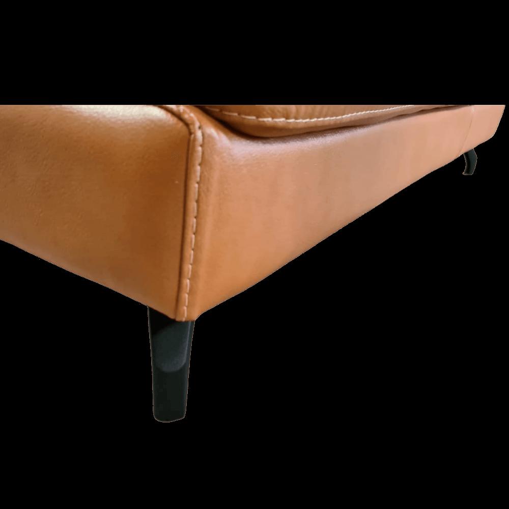 Sofá Chaise de Couro 3 Lugares 325cm Rotterdam - Camel