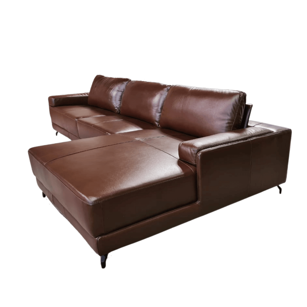 Sofá Chaise de Couro 3 Lugares 325cm Rotterdam - Caramelo LE