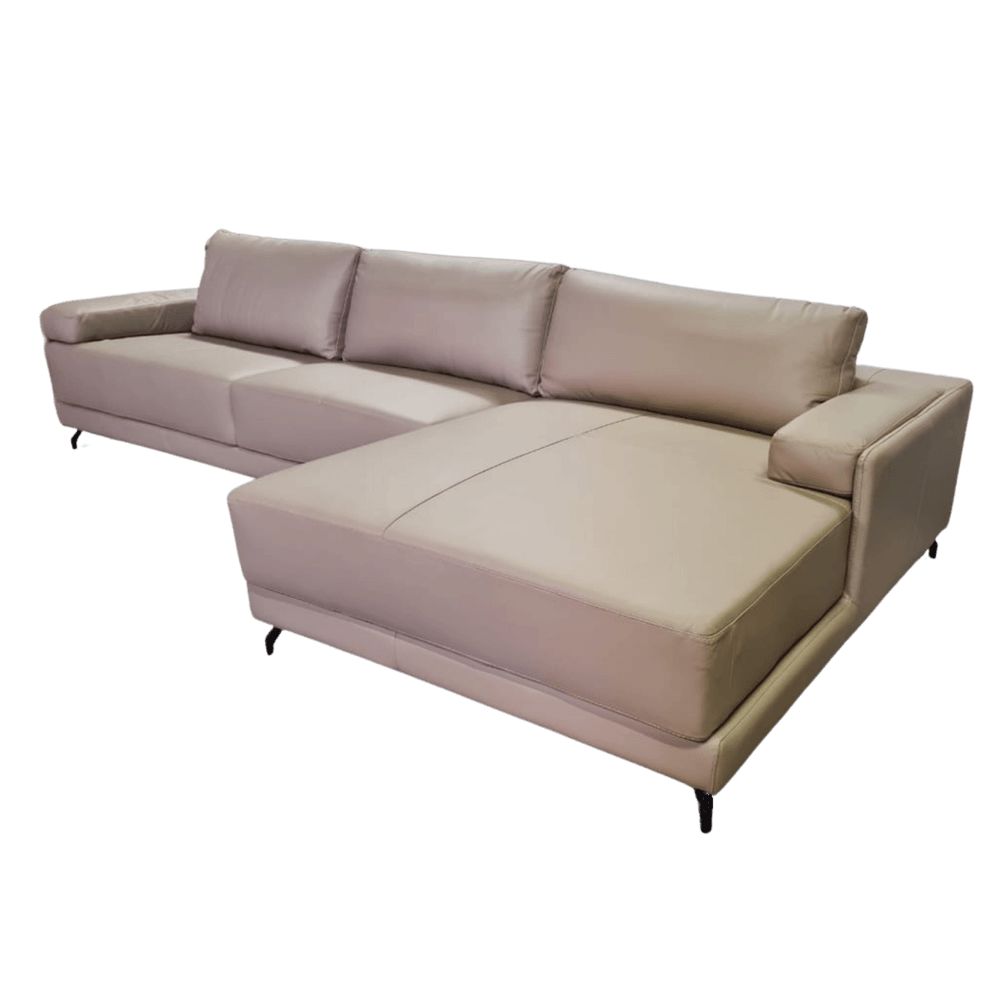 Sofá Chaise de Couro 4 Lugares 325cm Rotterdam - Stone