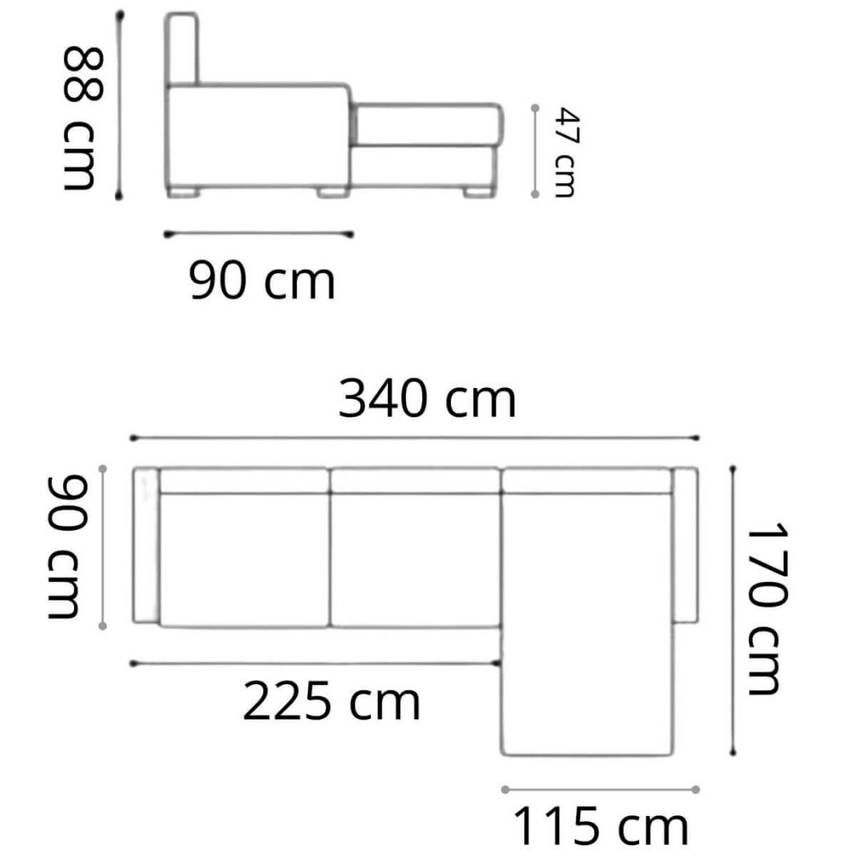 Sofá Chaise de Couro 4 Lugares 340cm Canadá LE Pronta Entrega  - Formato Móveis e Decorações