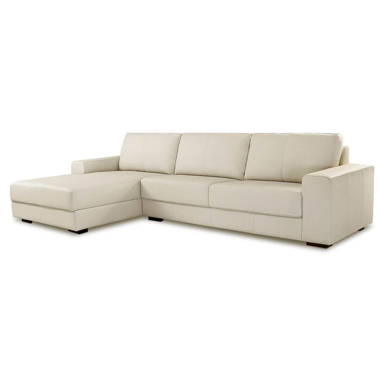 Sofá Chaise de Couro 4 Lugares 340cm Canadá Off White Com Costura Cinza LD