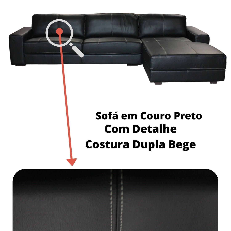Sofá Chaise de Couro 4 Lugares 340cm - Canadá Preto Com Costura Bege LE