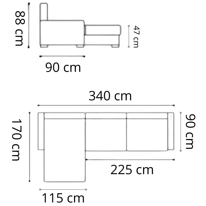 Sofá Chaise de Couro 4 Lugares 340cm Canadá Preto Com Costura Bege LD
