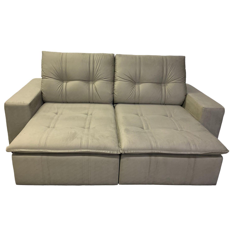 Sofá Civic Retrátil e Reclinável 230 cm tecido suede Bege