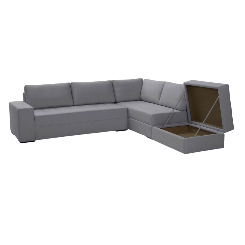 Sofá de Canto 290 cm x 220 cm com Bau Surprize - Suede Aveludado Bege
