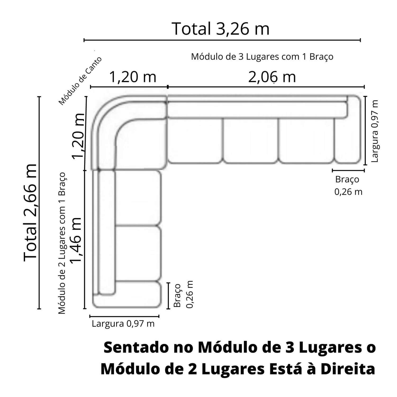 Sofá de Canto de Couro 266 cm x 326 cm  - Premier Pronta Entrega  - Formato Móveis e Decorações