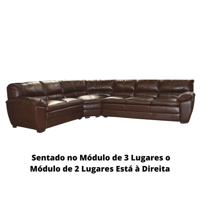 Sofá de Canto de Couro Café 266 cm x 326 cm  - Premier
