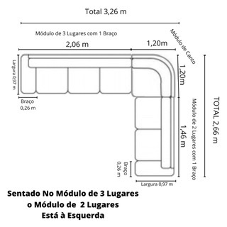 Sofá de Canto de Couro Café 326 cm x 266 cm - Premier