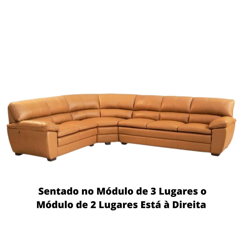 Sofá de Canto de Couro Camel 266 cm x 326 cm  - Premier
