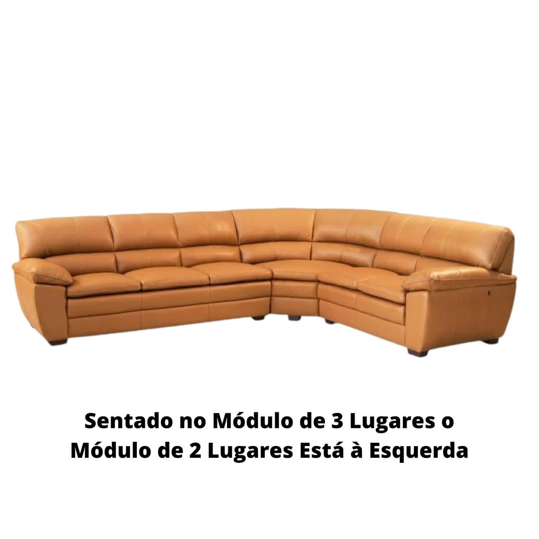 Sofá de Canto de Couro Camel 326 cm x 266 cm - Premier