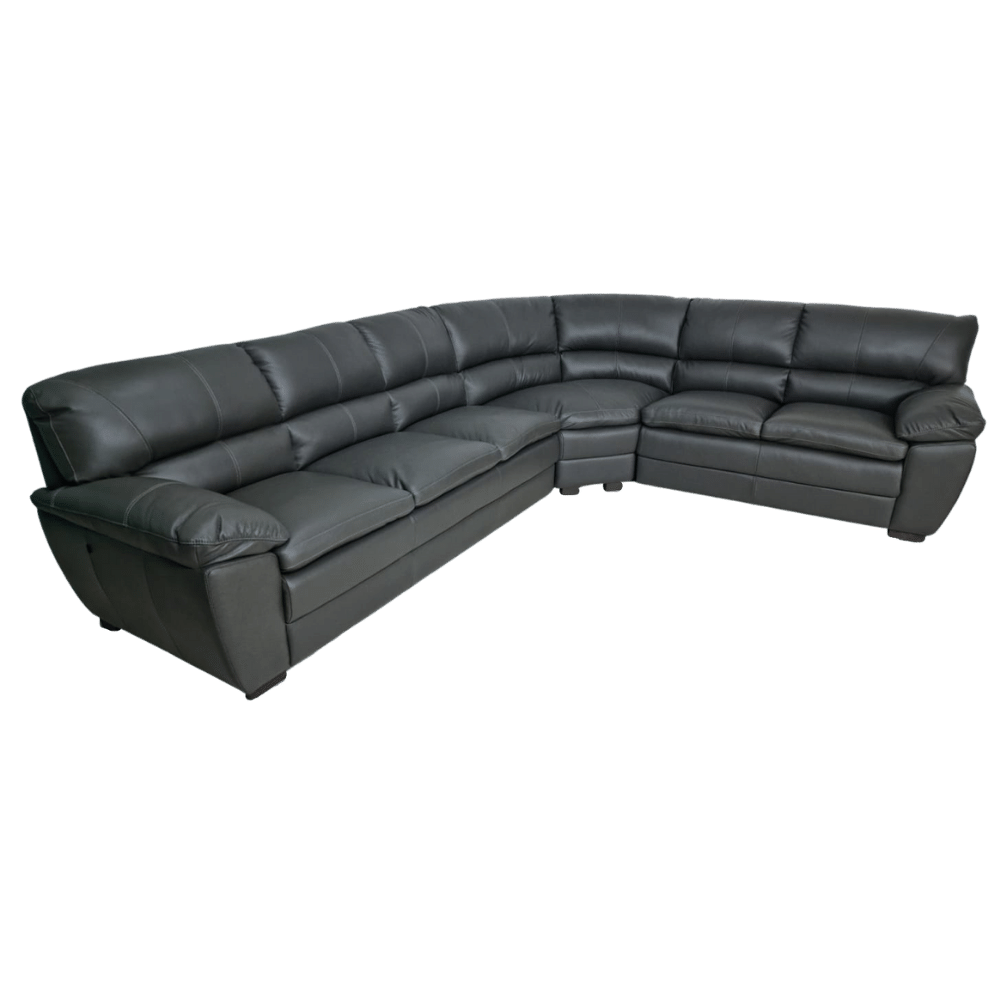 Sofá de Canto de Couro Savoy Grey 326 cm x 266 cm  - Premier