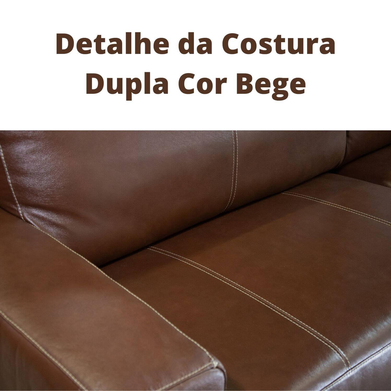 Sofá de Couro 4 Lugares 240cm - Canadá Caramelo Costura Bege