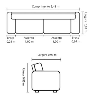 Sofá de Couro 4 Lugares 248cm Cinza - Dunna