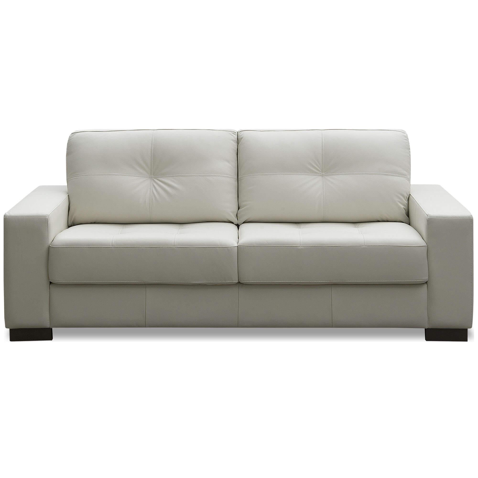 Sofá 2 Lugares de Couro 150cm - Haero Off White