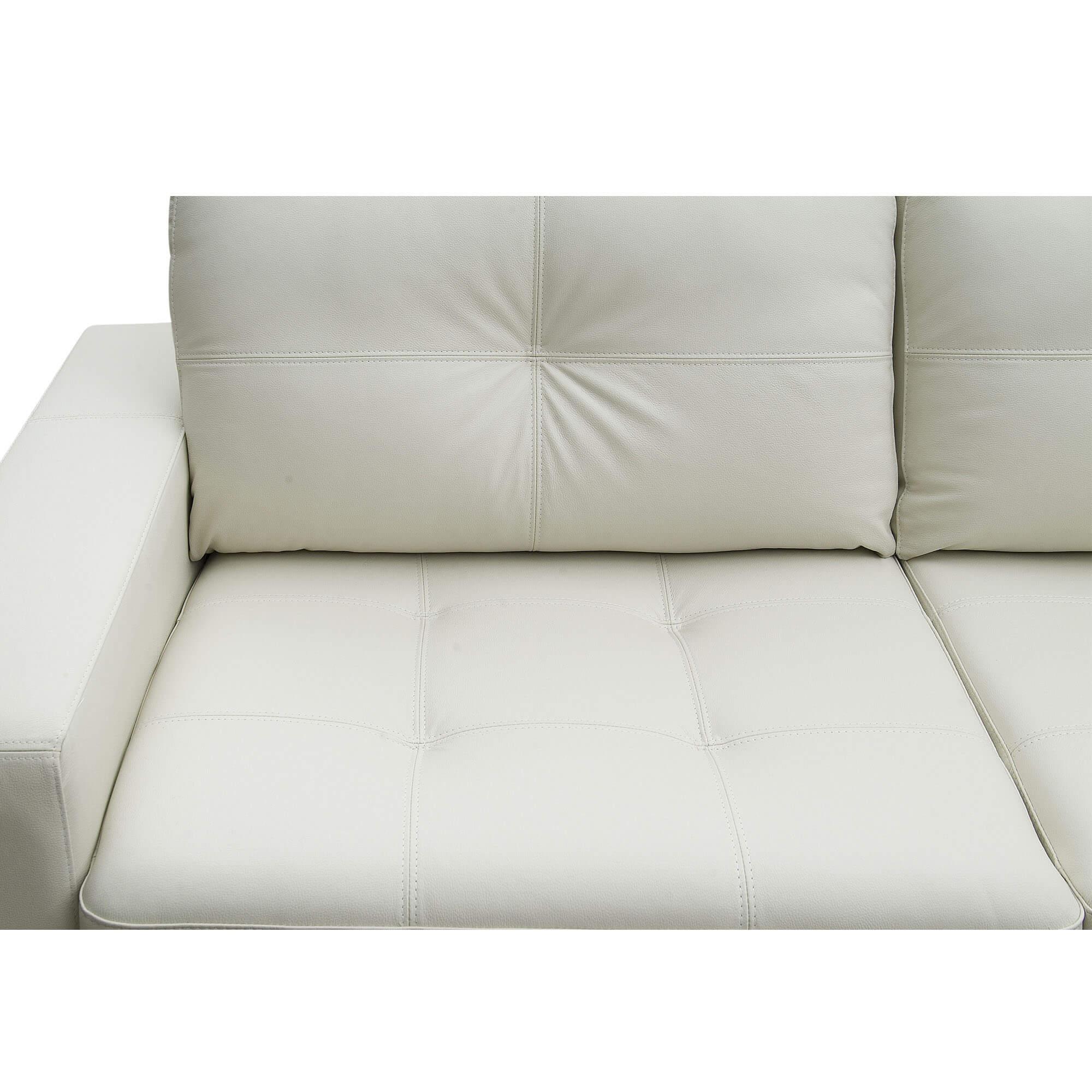 Sofá 3 Lugares de Couro 200cm - Haero Off White