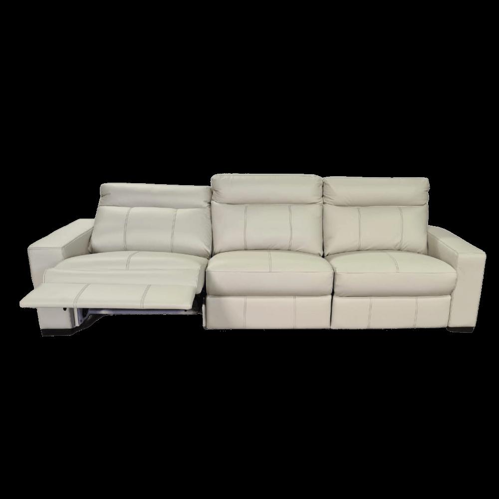 Sofá Retrátil Elétrico de Couro 299cm - Bari Off White com Costura Cinza
