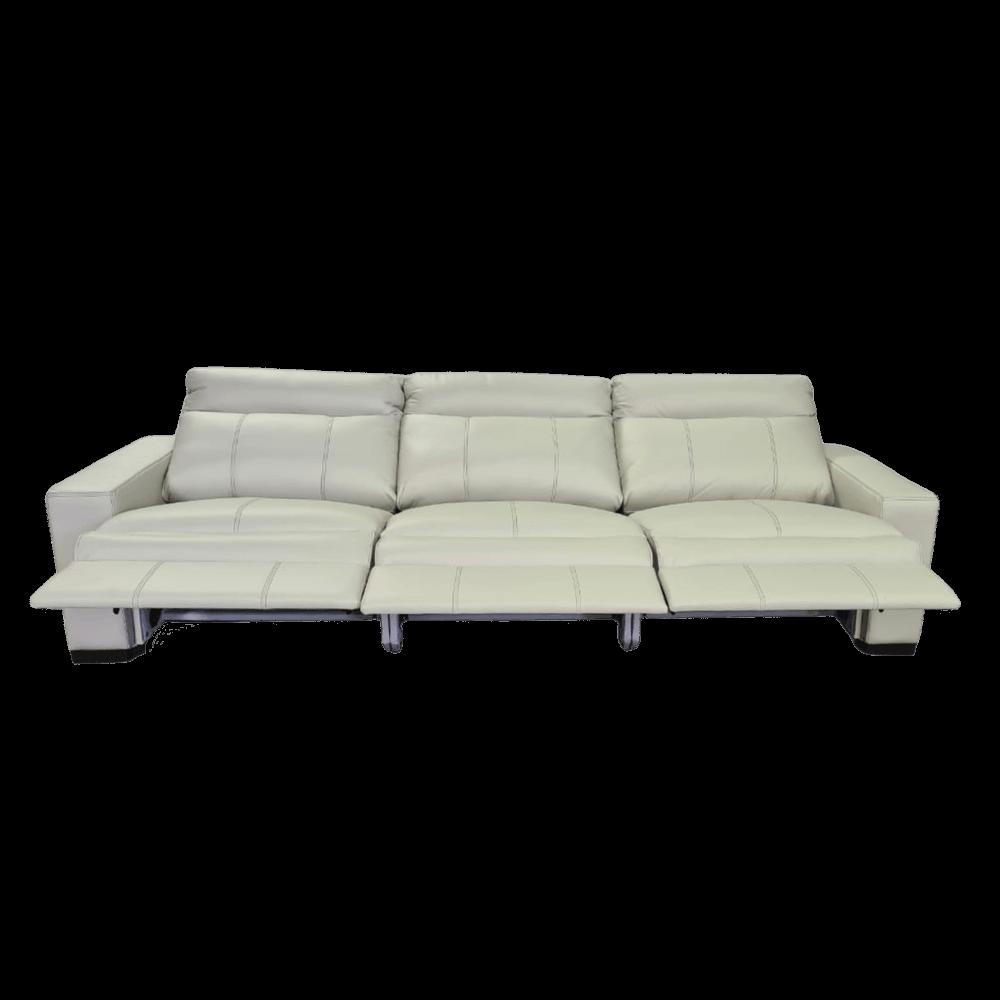 Sofá Retrátil Elétrico de Couro 289cm - Bari Off White com Costura Cinza