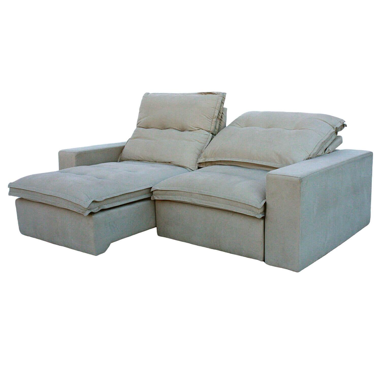 Sofa Retrátil 3 Lugares 230 cm Davos Cinza Claro