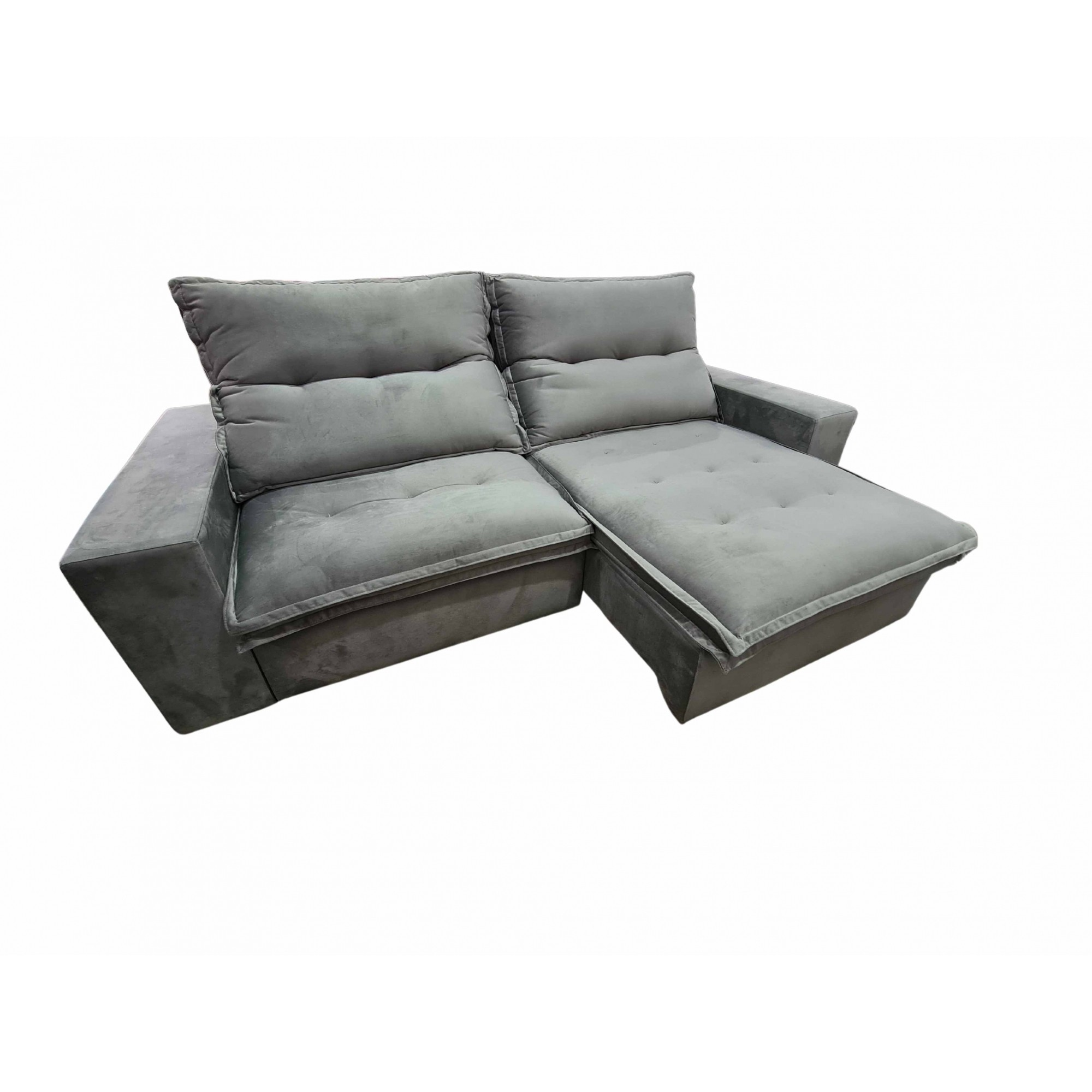 Sofa Retrátil 3 Lugares 250 cm Davos Cinza Claro